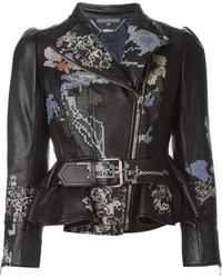 Alexander McQueen Cross Stitch Embroidered Biker Jacket