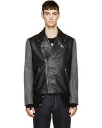 McQ Alexander Ueen Black Leather Wool Biker Jacket