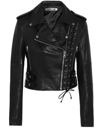 MCQ Alexander Ueen Lace Up Leather Biker Jacket Black
