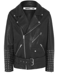 MCQ Alexander Ueen Oversized Studded Textured Leather Biker Jacket Black