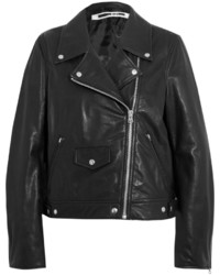 MCQ Alexander Ueen Textured Leather Biker Jacket Black