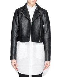 Alexander Wang T By Cropped Leather Biker Jacket