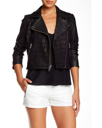 Andrew Marc New York Andrew Marc Tattered Croc Leather Moto Jacket