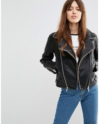 Asos Collection Biker With Textured Panels