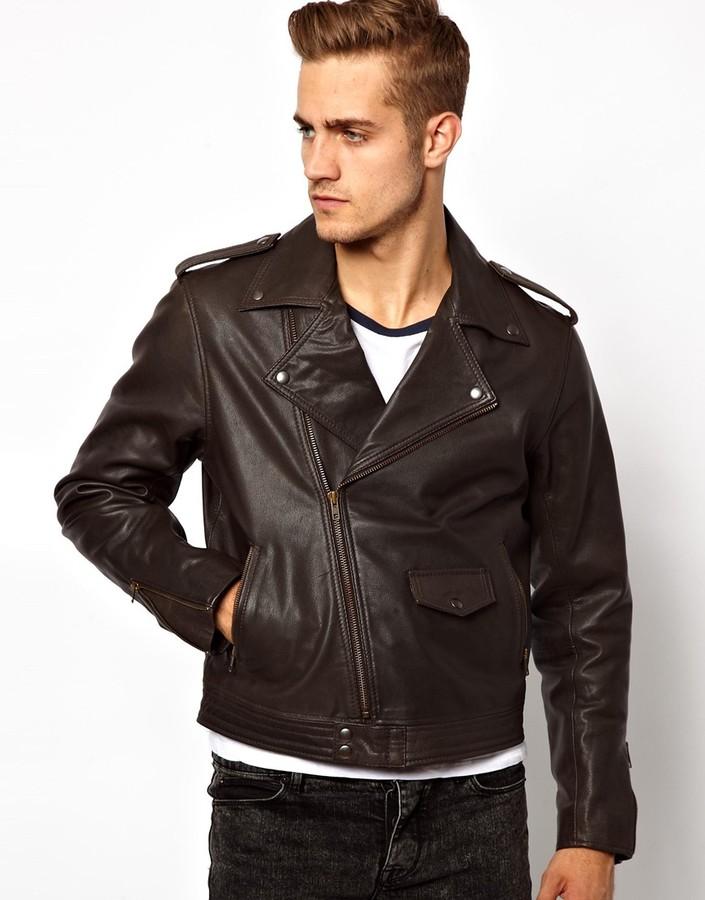Dark Brown Leather Biker Jacket - JacketIn