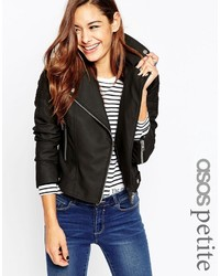 Asos Petite Ultimate Biker Jacket With Piped Detail