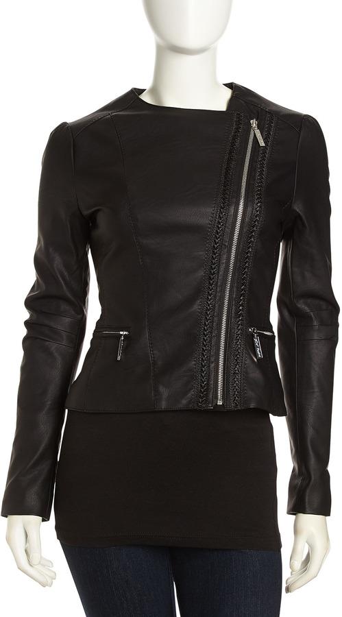 490885600 $125, Betsey Johnson Asymmetric Cropped Faux Leather Moto Jacket Black