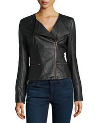 Bagatelle Asymmetric Leather Biker Jacket Black