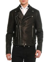 Givenchy Asymmetric Leather Moto Jacket Black