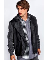 Boohoo Asymmetric Pu Jacket With Jersey Sleeves