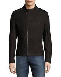 Hugo Boss Asymmetric Zip Leather Biker Jacket