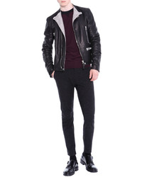 Lanvin Asymmetric Zip Leather Moto Jacket Black