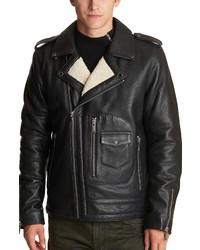 KARL LAGERFELD PARIS Asymmetrical Leather Moto Jacket With Faux