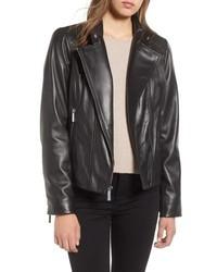 MICHAEL Michael Kors Asymmetrical Zip Leather Moto Jacket