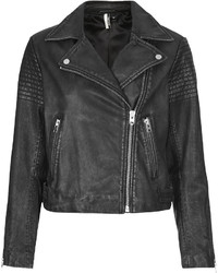 Topshop Authentic Washed Leather Biker Jacket