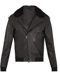 Acne Studios Avone Shearling Trimmed Leather Biker Jacket