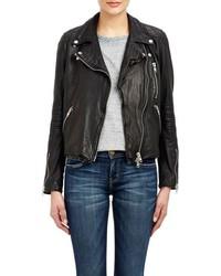 Barneys New York Lambskin Moto Jacket Black