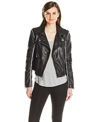 BCBGMAXAZRIA Faux Leather Moto Jacket With Contrast Piping