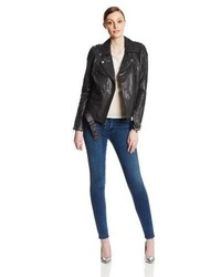 BCBGMAXAZRIA Leather Moto Jacket With Perforated Sleeves