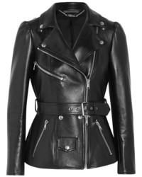 Alexander McQueen Belted Leather Biker Jacket Black