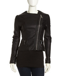 Betsey Johnson Asymmetric Cropped Faux Leather Moto Jacket Black