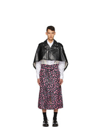 Comme Des Garcons Homme Plus Black And Pink Faux Leather Leopard Poncho Coat