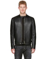 Black bonded leather biker jacket medium 1044378