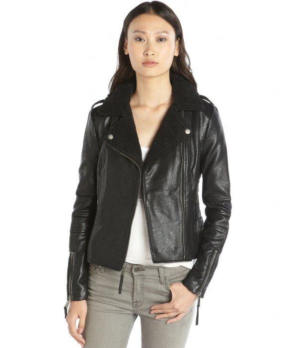 a85103e3d70d ... BCBGeneration Black Faux Leather Berber Trim Asymmetrical Zip Front  Jacket