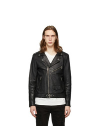 Stolen Girlfriends Club Black Glitter Logo Leather Jacket