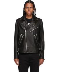 Diesel Black L Garrett Leather Jacket