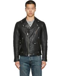 Mackage Black Lambskin Finn Biker Jacket