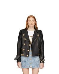 Balmain Black Leather 6 Button Biker Jacket
