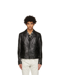 Saint Laurent Black Leather Application Jacket