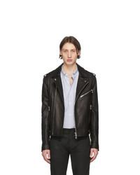 Balmain Black Leather Biker Jacket