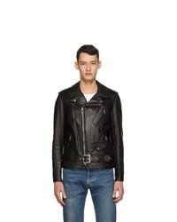 Schott Black Leather Biker Jacket