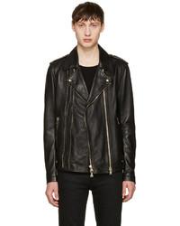 Black leather biker jacket medium 1151365