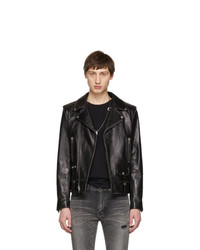 Saint Laurent Black Leather Classic Moto Jacket