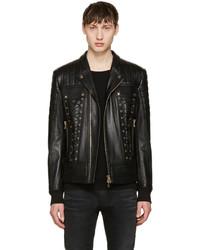 Black leather lace up biker jacket medium 1151389
