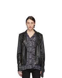 Ksubi Black Leather Loathing Biker Jacket
