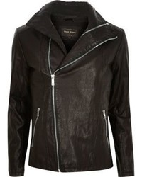 River Island Black Leather Look Biker Jacket