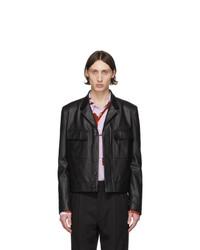 Paul Smith Black Leather Military Jacket