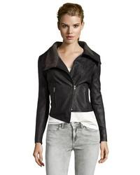 Walter Black Leather Nate Convertible Zip Moto Jacket