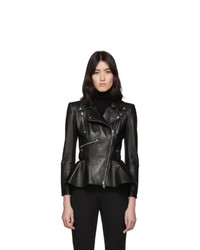 Alexander McQueen Black Leather Peplum Jacket