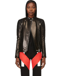 Givenchy Black Leather Ribbed Biker Jacket