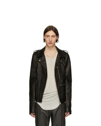 Rick Owens Black Leather Tecautl Stooges Jacket
