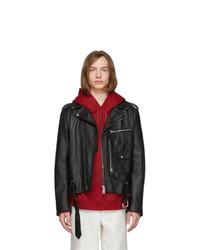 Acne Studios Black Leather Washed Ladd Jacket