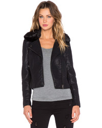 Black Orchid Faux Leather Jacket With Faux Fur Collar