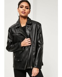 Missguided Black Oversized Boyfriend Faux Leather Biker Jacket