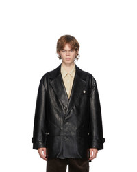 Andersson Bell Black Vegan Leather Raw Cut Jacket