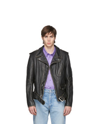 Schott Black Vintaged Fitted Motorcycle Jacket